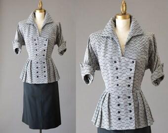 Asphalt Sparkle Dress   vintage 1950s peplum dress   50s flare dress