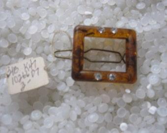 vintage barrette , faux tortoiseshell square with rhinestones