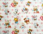 Japanese Fabric - QUILT GATE - Dear Little World - Cute Animals on Milk - Fat Quarter (ha160804