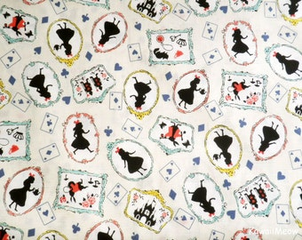 Japanese Fabric - Alice in Wonderland on Ivory - Half Yard (nu160201)