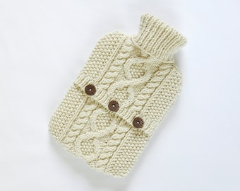 Hot water bottle cover / sweater - 100 per cent wool - Ecru. Hand Knit Bottle Cosy / Cozy.