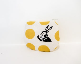 Coin Purse, Change Pouch, Zipper Pouch, Fabric Pouch, Pouch, Japanese Import, Cute Pouch, Alice in Wonderland White Rabbit with Gold Dots
