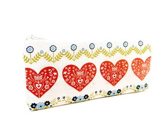 Fabric Pouch, Zipper Pouch. Coin Purse, Small Wallet, Change Purse, Cute Pouch, Heart Pouch, Pouch, Hearts in Brick Red with Flower Border