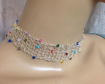 Crochet Knitted choker fine silver and Swarovski crystals in multi color necklace