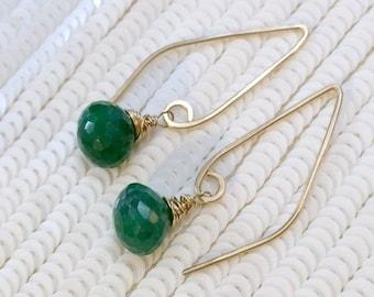 MOTHERS DAY SALE Emerald Long Dangle Earrings, Wire Wrap Gem, Gold Fill Elongated Earrings Simple Everyday Earrings, Bohemian Jewelry May Bi