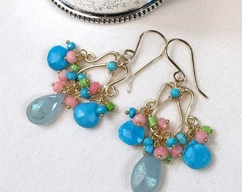 35% FLASH SALE Aquamarine Earrings Gold Chandelier Earring Wire Wrap Mystic Aquamarine Coral Turquoise 14kt Gold Fill Colorful Handmade Chan