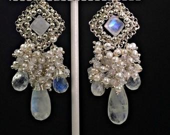 Moonstone Chandelier Earring Wire Wrap Pearl Cluster Statement Bridal Jewelry Handmade Wedding Earring Boho Sterling Silver Chandelier