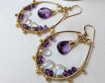 Amethyst Gemstone Hoop Earring Wire Wrapped Moonstone 14kt Gold Fill Hoop Amethyst Moonstone Handmade Bohemian Hoop  February Birthstone