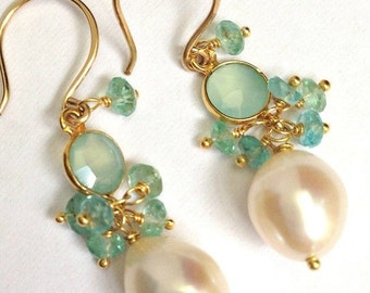 CUPID SALE Aqua Gemstone Earrings Aqua Chalcedony Dangle Earrings Gold Filled Wire Wrap Connector Pearl Cluster Earrings