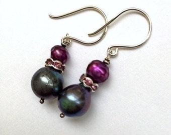 VALENTINES SALE Black Pearl Earrings Violet Damson Pearl CZ Rondelle Wire Wrapped Silver Petite Dangle Earrings Minimalist Jewelry