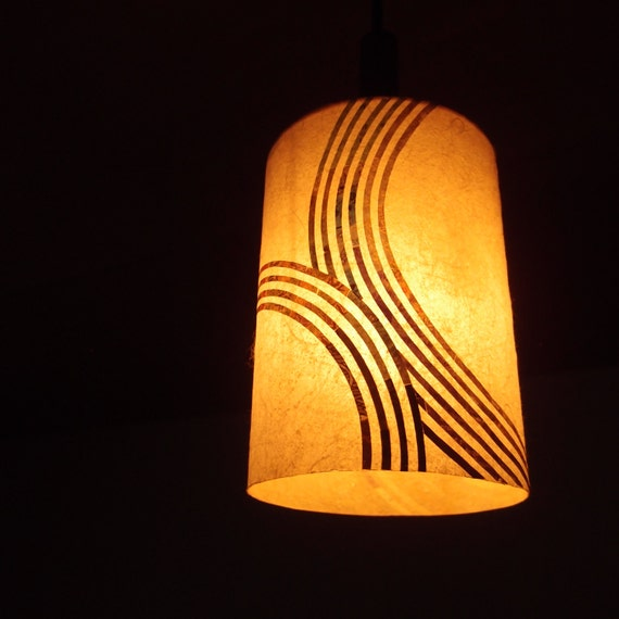 zen garden japanese rice paper collage lamp shade. Black Bedroom Furniture Sets. Home Design Ideas