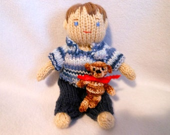 Little Boy Hand Knitted Doll with His Crochet Teddy Bear, Buddies, Friends, Male, Home Decor, Nursery Decor