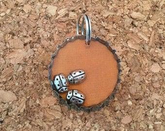 Ladybug bottle cap pendant