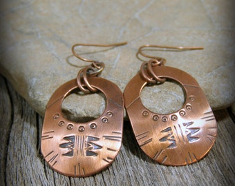 Tribal Earrings, Copper Earrings, Hoop Earrings, Native American Design, Oval Earrings, Tribal Jewelry, Boho Earrings, Bohemian Jewelry