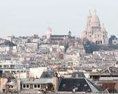 Paris Photography, Montmartre View of Parisian Rooftops, soft blue and grey tones, French Decor, Parisian Architecture, Sacre Couer