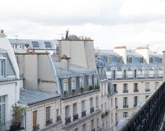 Paris Photography, Paris Balcony in the Opera, Parisian Rooftops, soft blue and grey tones, Paris, France, French Wall Decor, Opera House