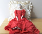 vintage boudoir doll porcelain victorian reproduction dancehall girl scarlet lace china arms legs