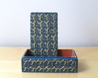 folk art art blue and gold trinket box handmade wooden tramp art