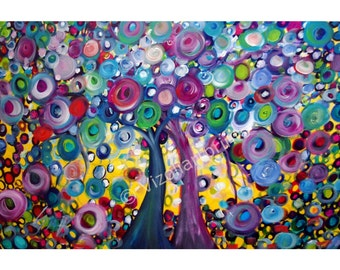 Abstract Trees Original Pianting Contemporary Whimsical Trees Landscape Art by Luiza Vizoli FALLING IN LOVE- ready to ship