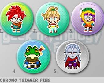 """Chrono Trigger Pins or Magnets 1.5"""" - Crono / Marle / Lucca / Frog / Magus"""