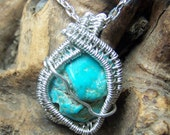 USA Turquoise necklace pendant Sterling SIlver wire wrap - colorado crystal stone light blue green natural raw - black cord or chain - @JJ8