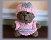 Hand Knit Stuffed Teddy Bear,Baby Toy, Handmade Plush Toy, Dressed Bear, Soft Knit Toy