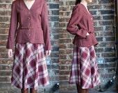 Vintage 1960's Wool Plaid Skirt Suit, Burgandy, Belted Jacket and A Line Skirt - small medium
