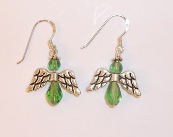 Green Crystal and Silver Angel Earrings -1396