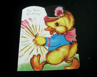 Vintage Unused Baby Duck Birthday Card With Envelope From Gibson, Parade of Wishes