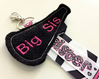 One Zebra Pink Black and White Big Sister Megaphone Cheer Bow Hair Clip Holder