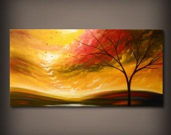 "Art large art acrylic painting original painting 48"" wall art abstract painting tree painting canvas painting art wall hanging Mattsart"