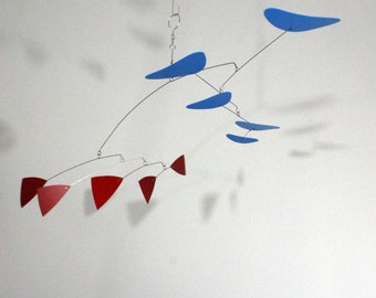 Hanging Mobile Red and Blue Sculpture - Classic Style - Kinetic Calder Inspired - 32w x 22t - P194