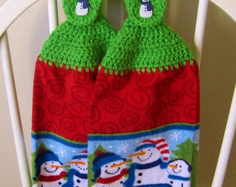 2 Crocheted Christmas Hanging Kitchen Towels - Let it Snow!