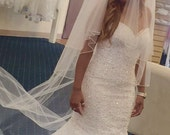 Genuine CRYSTAL EDGE Cathedral Veil with Blusher, Dusted with Double-sided Scattered Rhinestones