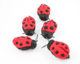 Needle Felted Ladybug - Fiber Art Insect Decor