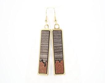 Modern Geometric Dangle Earrings - Two-Tone Glossy Laminate - Laser Cut Irregular Edge Design in Brass Setting (Gray Wood w/ Copper Accent)