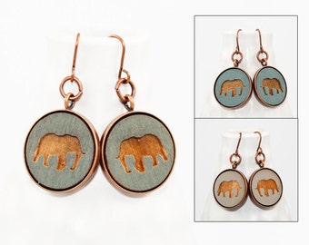 Elephant Earrings - Laser Engraved Wood (Choose Your Color)