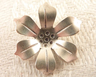 Vintage Handmade and Signed Small Sterling Flower Pendant