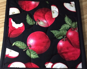 Apple Insulbrite Quilted Potholder: ready to ship, handmade, hostess gift, red
