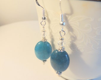 Apatite Earrings, Sterling Silver Jewelry, Dangle Earrings, Handcrafted Jewelry, Gemstone Jewelry, Blue and Silver