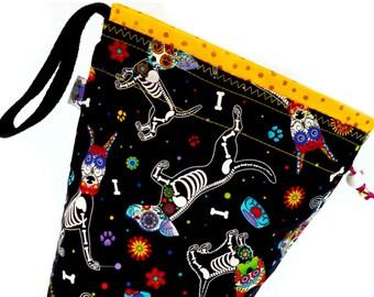 Small Knitting Project Bag Crochet Drawstring Tote WIP Bag -  Sugar Skull Puppy