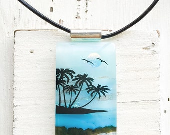 XL Tropical Paradise - Beach - Fused Glass Jewelry - Island - Jewelr y- Fused Glass Pendant - Dichroic Glass - Fused Dichroic Glass Jewelry