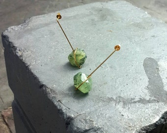 Green stoned long brass earrings