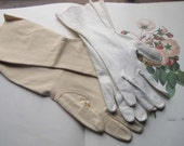 Vintage Gloves * 2 Pairs of Gloves * Cream White Kid Leather Gloves * Cotton Casual Gloves * Winter Neutral Colors