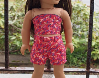 18 inch Dolls Clothes -  Girl Doll Clothes - Shorts Outfit - Strapless Top - Shorts