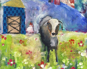 Free Range Goat- acrylic mixed media pastoral biblical CANVAS print