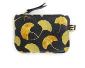 Leather Purse - Golden Ginkgo Leaf