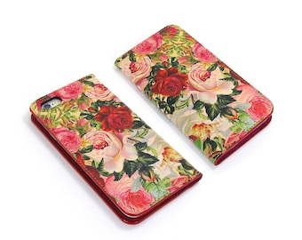 Leather iPhone 6 case, iPhone 6s Case, iPhone 6s Plus Case - Decoupage Roses (Exclusive Range)