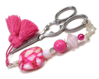 Beaded Scissor Fob Hot Pink Shell Quilting Sewing Cross Stitch Needlepoint DIY Crafts Gift for Crafter TJBdesigns