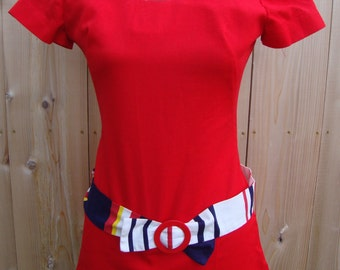Red coulotte with stripe accent belt-Mod-70's